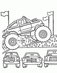 monster truck jumps over cars coloring page for kids