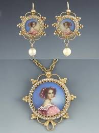 necklace pearl ebay images 232 best portraits enamel hand painted vintage charms images on jpg