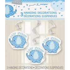 elephant decorations for baby shower blue elephant baby shower hanging decorations 3pk walmart