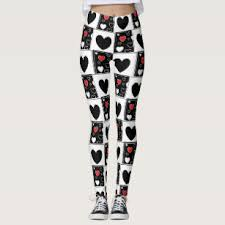 red patterned leggings black and red heart leggings tights zazzle co uk