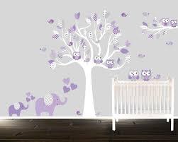 Elephant Wall Decal For Nursery by Girls Lavender Nursery Decal Elephants Birds Owls Tree