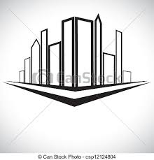vector clipart of outline sketch of cityscape urban setting with