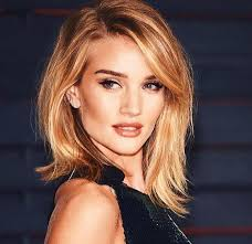 rosie huntington side parted lob haircut hair style pinterest