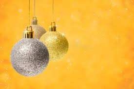 decoration balls on golden background stock photography