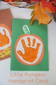 your little pumpkin u0027 handprint card for kids to make keepsakes