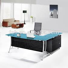 Blue Glass Top Modern Office Furniture Office Table fohj8058