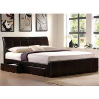 bedroom black leather platform bed with storage and headboard