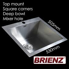 Deep Stainless Steel Kitchen Sink Kitchen Laundry Sink Hand Made Single Bowl 530mm X 505mm Square