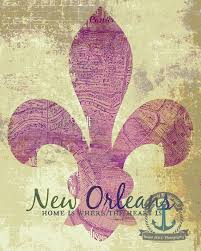 New Orleans Wall Decor New Orleans Vintage Map Fleur De Lis Home Is Where The Heart Is