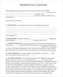equipment lease agreement template 12 equipment rental agreement