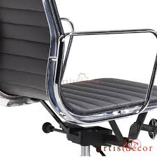 Office Chair Black Leather Eames Style Low Back Aluminum Ribbed Office Chair In White Leather