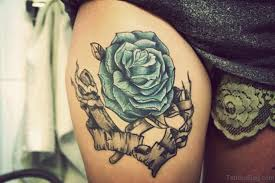 12 lovely blue rose thigh tattoos