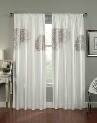 White Faux Silk Curtains Floral Blossom Faux Silk Curtain Panel Curtainworks