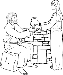 woman at the well coloring page within at the well coloring page