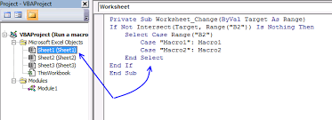 run a macro from a drop down list vba