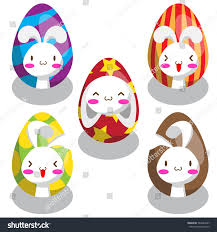 five sets easter bunny on easter stock vector 583484407 shutterstock