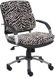 boss zebra print microfiber office chair with fixed arms