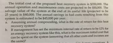 the sketch of a proposed heat recovery system in a chegg com
