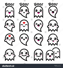 kawaii cute ghost halloween icons set stock vector 214945945