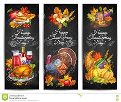 thanksgiving traditional thanksgiving day greeting banners posters stock vector image