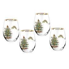 spode tree 16oz stemless wine glasses set of spode usa