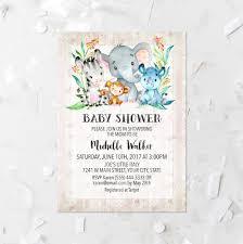 jungle animal baby shower invitation printable elephant baby
