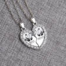 heart necklace wholesale images Wholesale silver best friends letter love heart necklace stylish jpg