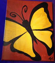 yellow butterfly acrylic painting on 8x10 by babybowserandbeads