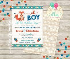 tribal baby shower baby boy shower invitation fox