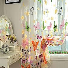 Door Curtains Butterfly Tulle Window Screens Sheer Voile Door Curtains Drape