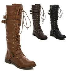 s knee high lace up buckle fashion combat boots