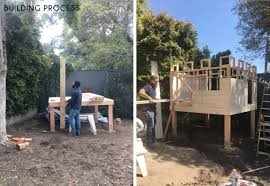 Build A Backyard Fort Building Our Backyard Castle With Wood Naturally Emily Henderson