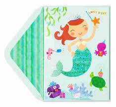mermaid u0026 sealife with stickers kids birthday cards papyrus
