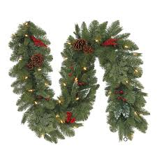 6 ft battery operated winslow artificial mantle garland with 35