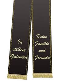 sprüche trauerschleife trauerband bedruckt 125mm x 75cm schwarz preiswert kaufen