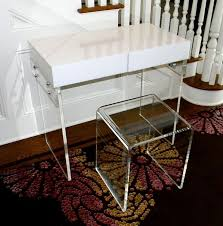 White Lucite Desk Hand Crafted The Lucite Desk 2 Drawer Vanity Clear Mirrored