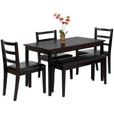 dining room set bench wood 5 piece dining table set w bench 3 chairs dinette u2013 best