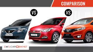 honda car comparison maruti baleno vs hyundai elite i20 vs honda jazz comparison