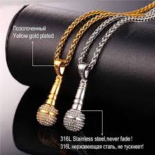 gold plated necklace wholesale images U7 rock punk microphone necklace pendant women stainless steel jpg