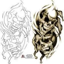 grey ink evil jester on sleeve tattoos