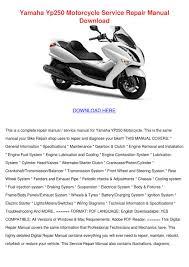 yamaha yp250 motorcycle service repair manual by paulanoll issuu