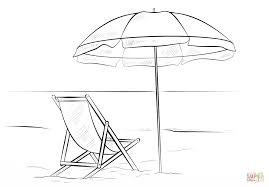 beach chair and umbrella coloring page free printable coloring pages