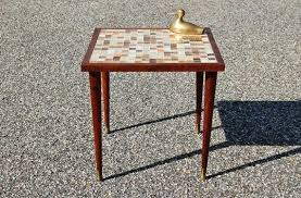 pencil leg table and chairs tile top end tables beach waves mosaic end table tile top bistro