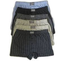 6 pairs mens cotton blend button boxer shorts check patterened or