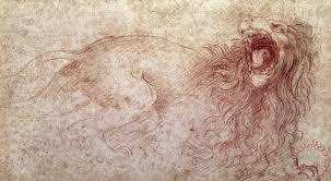 leonardo da vinci sketch of a roaring lion painting sketch of a