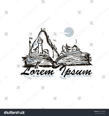 unusual hand drawn sketch logo book stock vector 423128068