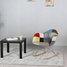 Rocker Armchair Modern Upholstered Style Rocker Armchair Multi Color Patchwork