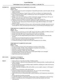 marketing manager resume performance marketing manager resume sles velvet