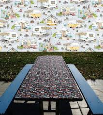 fitted picnic table cloth u2022 folding table cover u2022 vintage retro