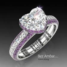 heart shaped wedding rings silvet blaze engagement ring set treated blue diamonds